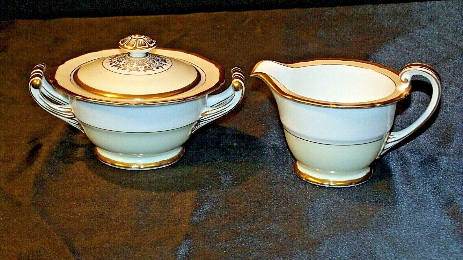 Noritake China Japan Goldora 882 Cream and Sugar with lid AA20-2140 Vintage
