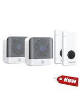Wireless Doorbell 500Feet 52 Chimes 2 Plug in Receiver 2 Battery, Waterp... - £29.14 GBP+