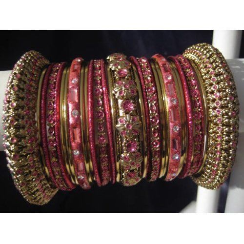 Primary image for Indian Ethnic Bridal Bangle Bracelet in English Rose Color with Gold Tone 2.4