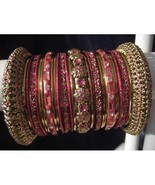 Indian Ethnic Bridal Bangle Bracelet in English Rose Color with Gold Ton... - $39.99