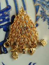 Vintage Kirk Folly Gold Tone Charms Christmas Filigree Tree Fashion Brooch - $30.00