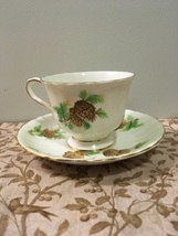 Vintage Clarence Bone China Tea Cup with Saucer Pine Cone DesIgn Made In... - $10.60