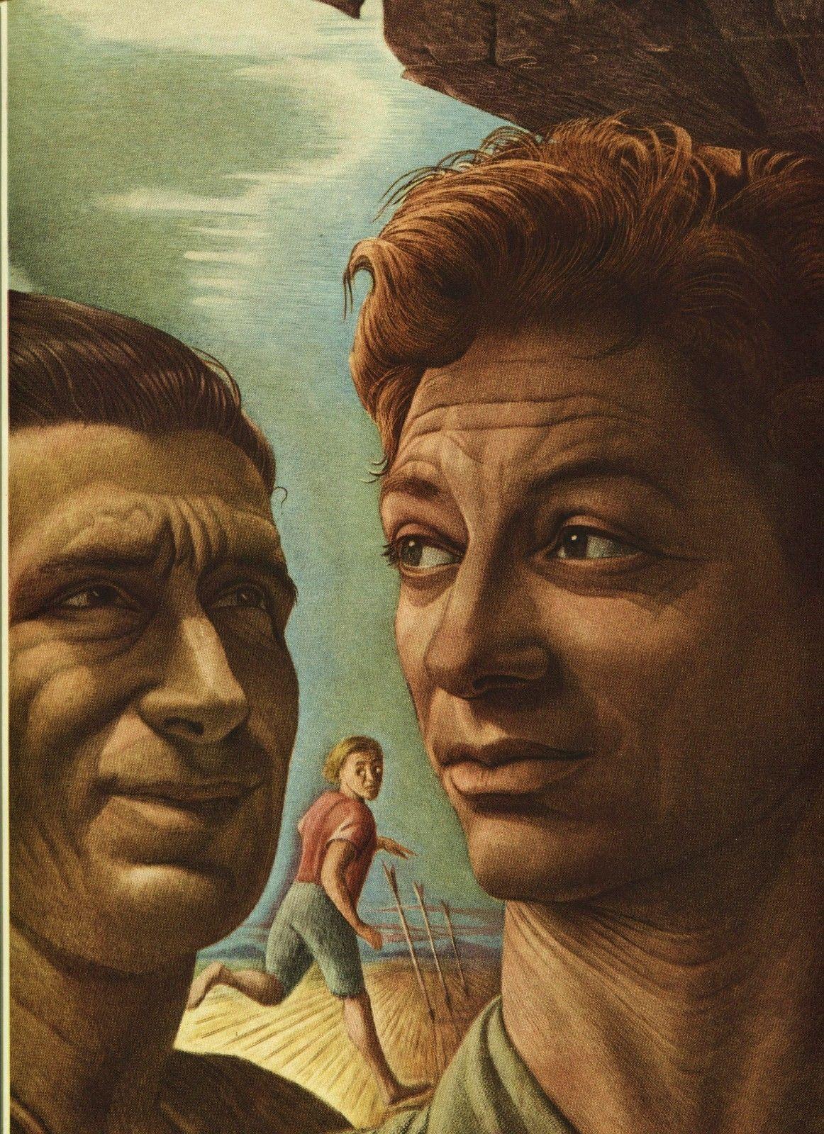 "Guy Rowe. ""David & Jonathan"". Vintage 1949 Religious Lithograph Print. 9X12"