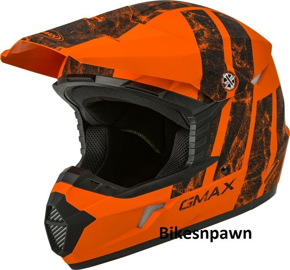 New Youth S Gmax GM46 Dominant Matte Orange/Black Offroad Helmet DOT