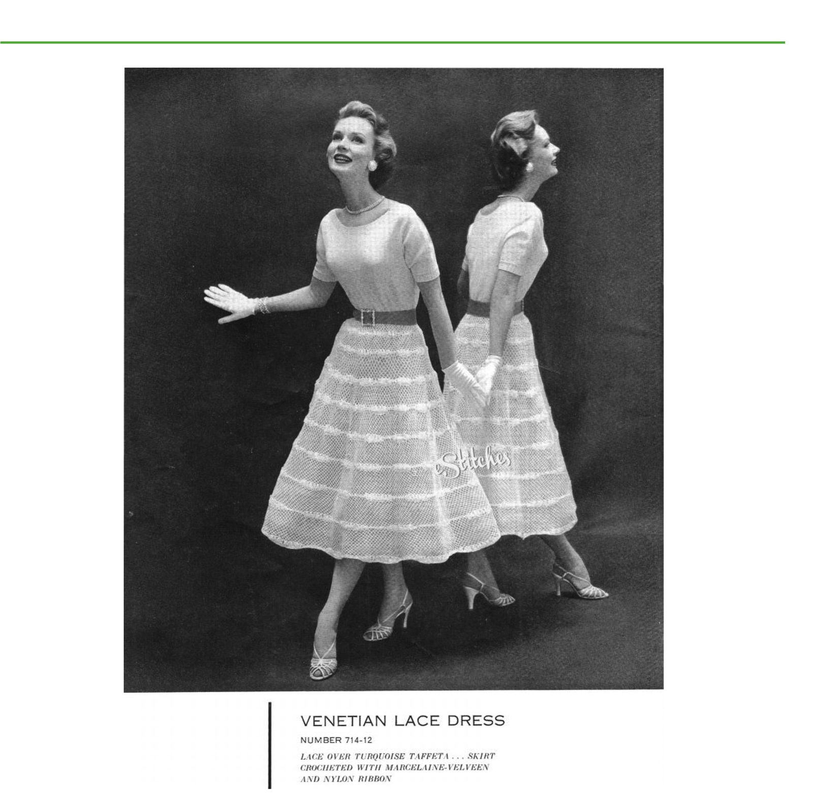Primary image for 1950s Full Mesh Skirt & Simple Top Dress - 2 Crochet/Knit patterns (PDF 7141)