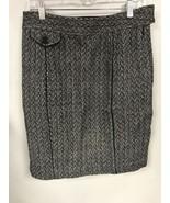 Ann Taylor Womens 6 Tweed Skirt Black White Cotton Wool Blend - $19.79