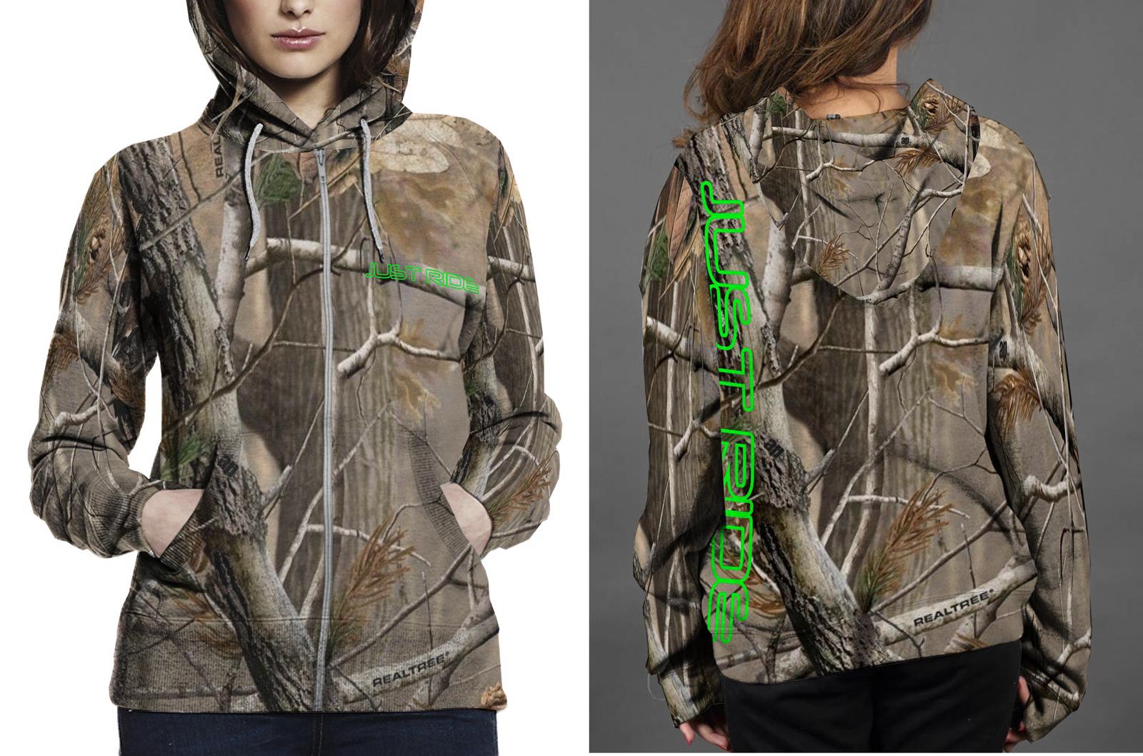 Just ride realtree ap camo hoodie fullprint zipper women