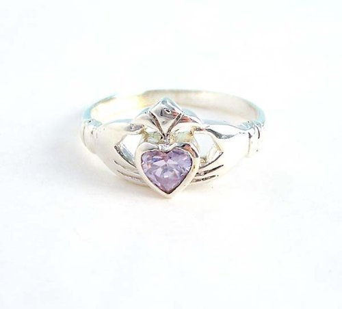 Primary image for Claddagh Sterling Silver Alexandrite Crystal Ring, Size 6 [Apparel]