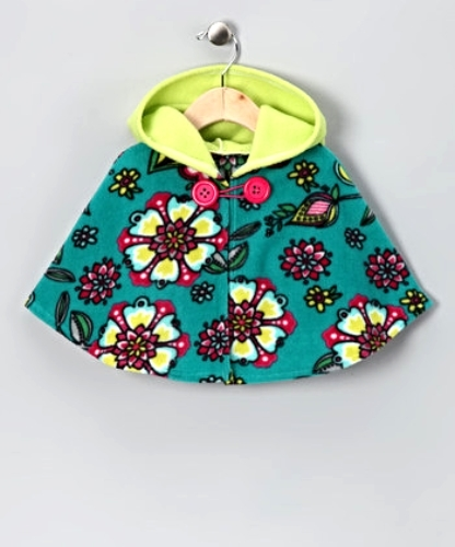 Primary image for Girls Fleece Ponchos Capes Turquoise Floral Button Closure  MSRP $45.00 SAVE $15
