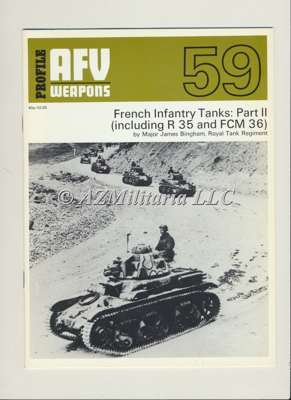 Primary image for AFV WEAPONS Profile Number 59: French Infantry Tanks: Part II (R35 & FCM/FCM 36)