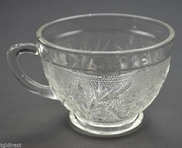"""Anchor Hocking Glass Sandwich Clear Punch Cup 2.375"""" Tall Floral Vintage... - $2.99"""