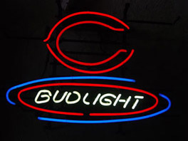"Primary image for Budweiser Bud Light NFL Chicago Bears Football Neon Sign 17"" x 13"""