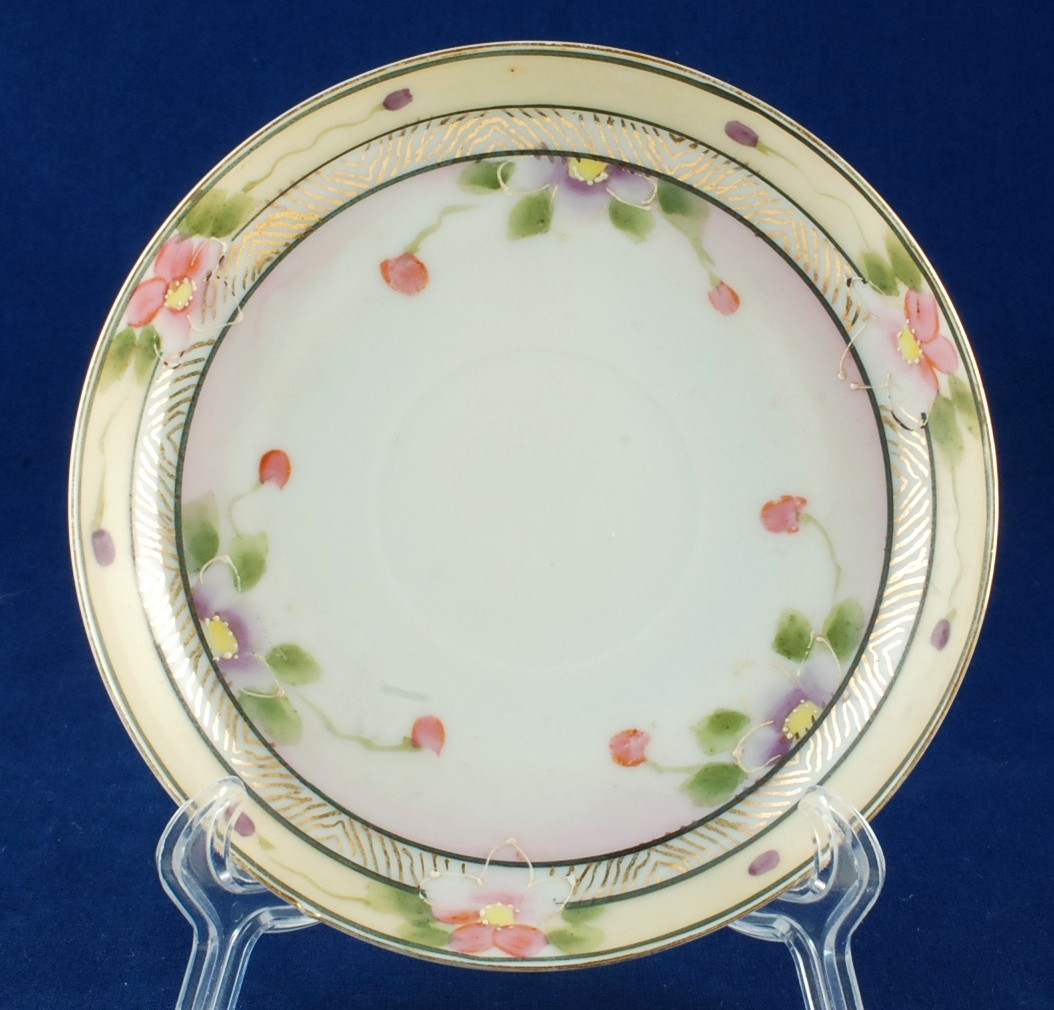 "Primary image for Japan Hand Painted Orphan Saucer Pink Buds Floral 5.5"" Exc Vintage"