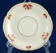 Castleton China Jubilee Demitasse Orphan Saucer Burgundy Leaves Made in USA - $6.00