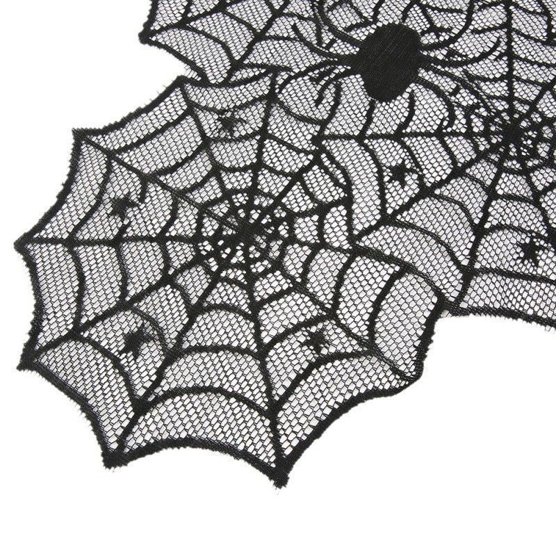 Spider Web Black Lace Tablecloth For Halloween Party Decoration Horror Design