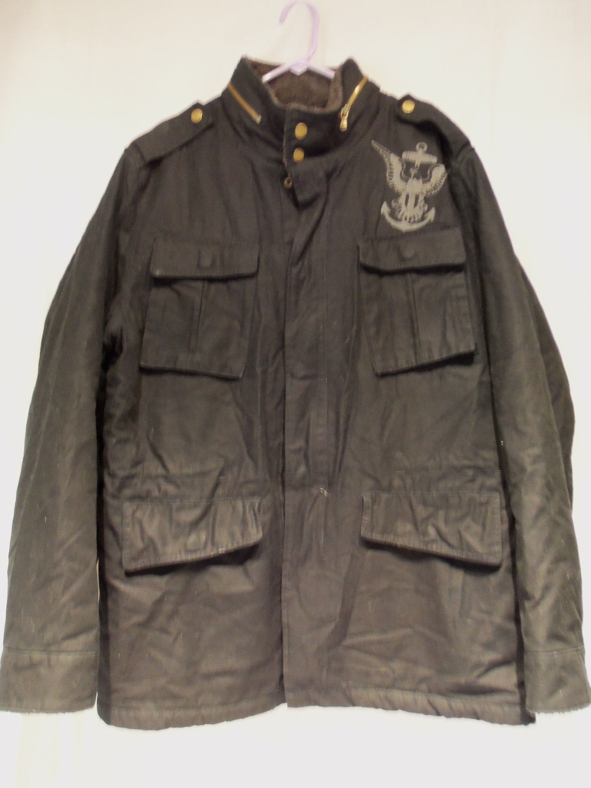 Primary image for Mens Nautica Jeans Co Military Style Coat Jacket Zipper Front Poly Cotton  Sz XL