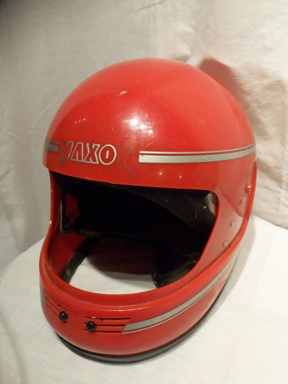 Primary image for Vintage 1986 Red Maxon Mark II DOT Motorcycle Cycle Snowmobile ATV Helmet  Sz L
