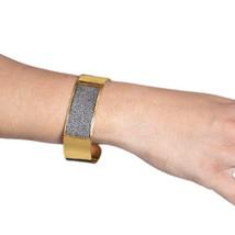 Gold Plated Diamond Pave Cuff Bangle Handmade Bracelet Fine Jewelry .925... - $543.51