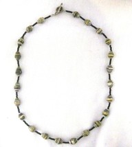 """Recycled Paper Beads Necklace 18""""  Gray Yellow  Uganda - $9.79"""