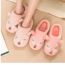 Women Shoes Winter Warm Plush Cotton Cartoon Animal Fox Footwear Home Sl... - $19.99