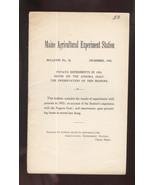 MAINE AGRICULTURAL EXPERIMENT STATION BULLETIN -1903 - $24.99