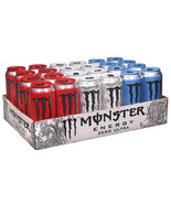 Monster Energy Drink Ultra Zero Blue Red Variety Pack Cold Beverage Cans... - $44.54