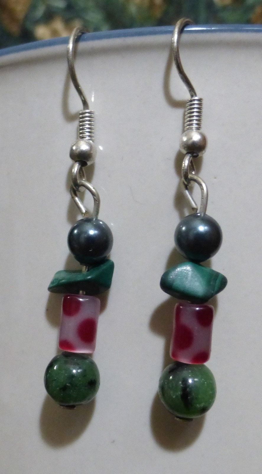 Green Stone and Pink Polka-Dot Dangle Earrings