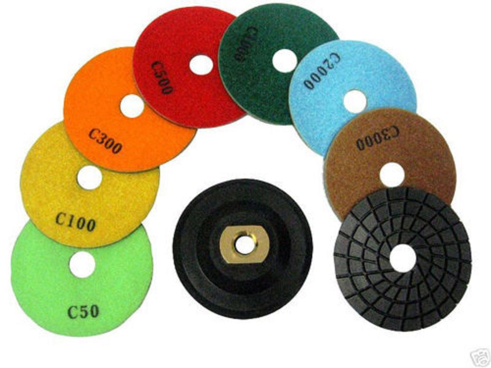 "Primary image for ZERED 4"" Diamond Premium Polishing Pad SET Wet Type Granite Tool"