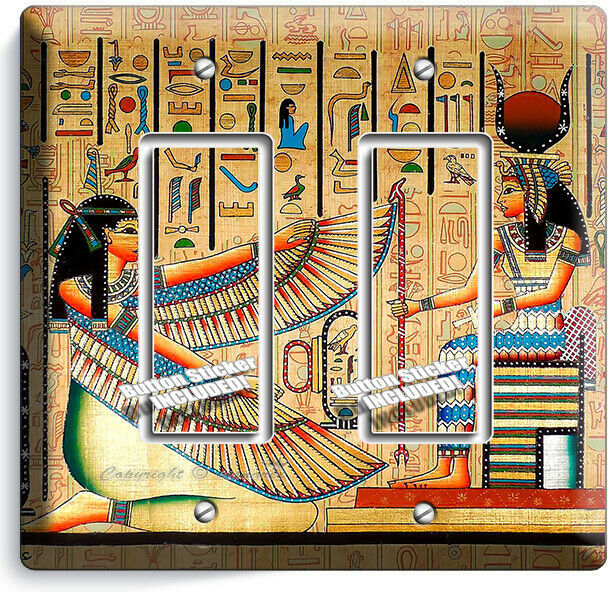 ANCIENT EGYPTIAN GODDESSES MAAT ISIS 2 DECORA LIGHT SWITCH PLATES WALL ART DECOR