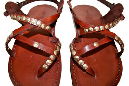 Brown Studded Triple Leather Sandals - $85.00