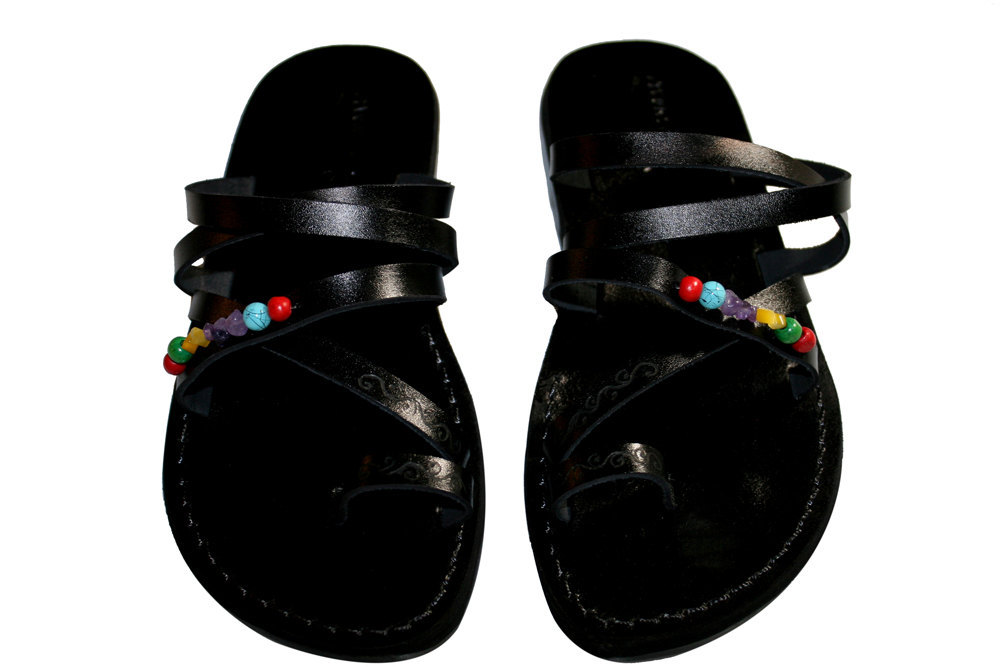 Primary image for Black Decor Buckle-Free Leather Sandals