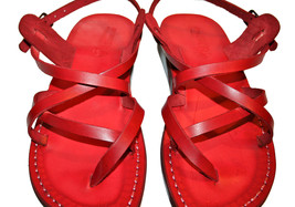 Red Triple Leather Sandals - $85.00
