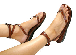 Brown Ankle-Strap Leather Sandals - £55.31 GBP