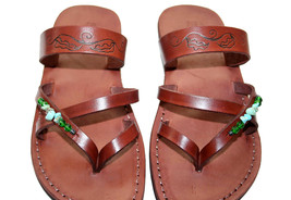 Brown Decor Moon Leather Sandals - $70.00