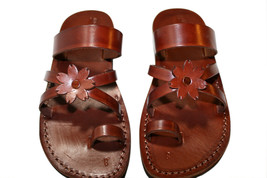 Brown Flower-Cross Leather Sandals - New Collection - £51.36 GBP
