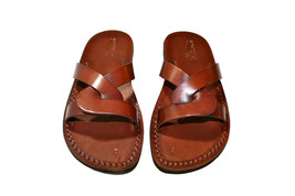 Brown Tumble Leather Sandals - New Collection - £47.41 GBP