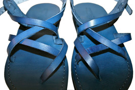 Blue Triple Leather Sandals - $85.00