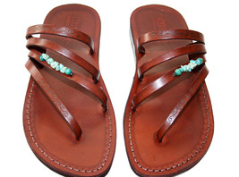 Brown Decor Rainbow Leather Sandals - $70.00