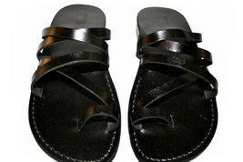 Black Buckle-Free Leather Sandals - £47.41 GBP