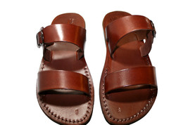 Brown Buckle-Bio Leather Sandals - New Collection - £47.41 GBP