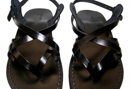 Black Mix Leather Sandals - $65.00