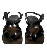 Black Mix Leather Sandals - $65.00