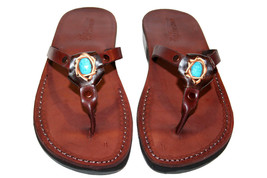 Brown Decor Skinny Leather Sandals - $85.00