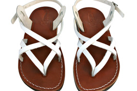 White/Brown Mix Leather Sandals - $100.00