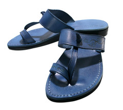 Blue Decor Twizzle Leather Sandals - $90.00