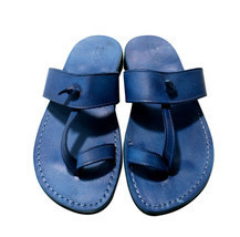 Blue Twizzle Leather Sandals - $80.00