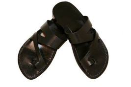 Black Zing Leather Sandals - $60.00
