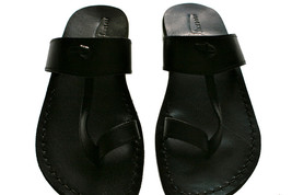 Black Twizzle Leather Sandals - $60.00