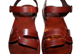 Brown Circle Leather Sandals - $65.00