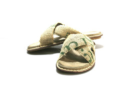 Beige/Green SWELL Leather & Recycled Utah Sandals - Anatomic Soles - £75.07 GBP